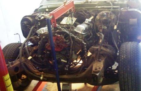 Step 1 to removing the 68 Pontiac Firebird engine.